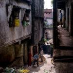 One of the many narrow lanes of Shillong's biggest bazaar, Bora Bazaar.
